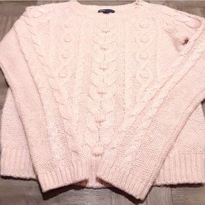gap girls fuzzy pink cable knit sweater